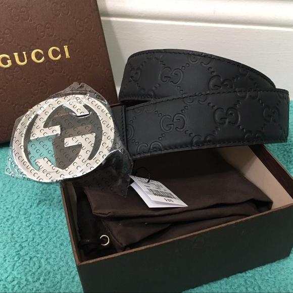 ec6a94381 New Authentic Black Leather Gucci Guccissima Belt.  M_5b72e9b0c6177792327eb861